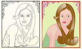 Menina bonita no frame com ornamento Imagem de Stock