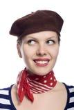 Menina bonita no olhar clássico do francês 60s Fotografia de Stock