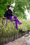 Menina bonita no parque do outono Imagens de Stock Royalty Free