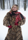 Menina bonita no parque no inverno, menina em um casaco de pele Foto de Stock