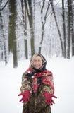 Menina bonita no parque no inverno, menina em um casaco de pele Imagem de Stock Royalty Free