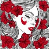 menina bonita no perfil com as flores vermelhas no cabelo ilustração stock