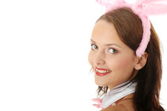 Menina bonita no roupa interior cor-de-rosa 'sexy' Fotos de Stock Royalty Free