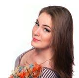 Menina bonita no t-shirt no estúdio Imagem de Stock
