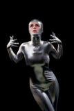 Menina bonita no terno futurista imagem de stock royalty free