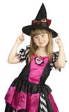 Menina bonita no traje da bruxa no fundo branco Foto de Stock Royalty Free