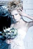 Menina bonita no vestido branco na imagem da rainha da neve com uma coroa em sua cabeça Fotografia de Stock Royalty Free