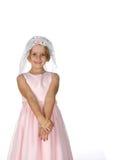 Menina bonita no vestido cor-de-rosa com o véu em sua cabeça Fotos de Stock Royalty Free