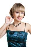 Menina bonita no vestido de noite azul Foto de Stock Royalty Free