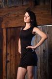 A menina bonita no vestido de noite, o modelo levanta contra uma parede de madeira, Imagem de Stock