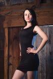 A menina bonita no vestido de noite, o modelo levanta contra uma parede de madeira, Fotografia de Stock