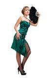 Menina bonita no vestido de noite verde Fotos de Stock