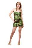 Menina bonita no vestido e em sapatas verdes Imagem de Stock Royalty Free