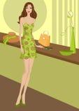 Menina bonita no vestido verde Imagem de Stock Royalty Free