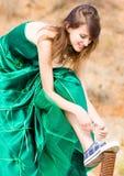 Menina bonita no vestido verde Foto de Stock Royalty Free