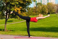 A menina bonita nova é contratada na ioga, fora em um parque Foto de Stock Royalty Free