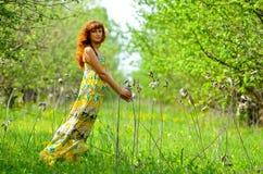 A menina bonita nova anda na primavera pomar de maçã verde Imagens de Stock Royalty Free