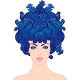 Menina bonita nova com cabelo azul ilustração royalty free