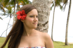 Menina bonita nova com a flor em seu cabelo Fotos de Stock