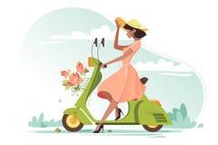 Menina bonita nova com o vestido, as flores e o chapéu leves longos das senhoras no 'trotinette' ilustração do vetor