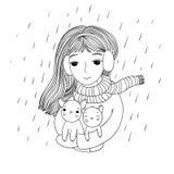 A menina bonita nova com os dois gatinhos pequenos bonitos Foto de Stock Royalty Free