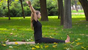 A menina bonita nova contratada na ioga imagem de stock royalty free