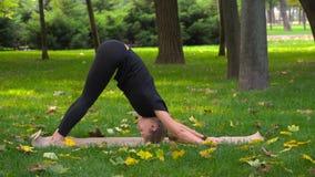 A menina bonita nova contratada na ioga Fotos de Stock