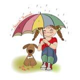 Menina bonita nova e seu cão, cartão da amizade Fotos de Stock