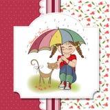 Menina bonita nova e seu gato, cartão da amizade Imagem de Stock Royalty Free