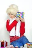 A menina bonita nova em um tampão da pele Foto de Stock Royalty Free