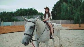 A menina bonita nova está no treinamento do esporte equestre 4K vídeos de arquivo