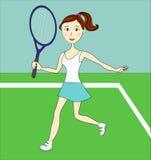 Menina bonita nova - jogador de tênis - com uma raquete Imagens de Stock Royalty Free