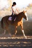 Menina bonita nova - montando um cavalo com folhas retroiluminadas atrás foto de stock royalty free