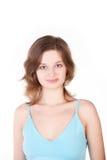 Menina bonita nova na camisa azul foto de stock royalty free