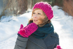 Menina bonita nova no inverno Imagens de Stock Royalty Free