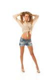 A menina bonita nova nos shorts Fotos de Stock Royalty Free