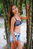 Menina bonita nova que levanta com as árvores do bamoo, conceito quente da forma do verão Fotos de Stock Royalty Free