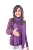 Menina bonita nova que oferece agitar as mãos Imagens de Stock Royalty Free