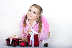 A menina bonita nova um anjo Fotografia de Stock