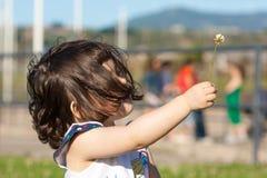 A menina bonita oferece a flor foto de stock