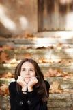 Menina bonita pensativa Foto de Stock