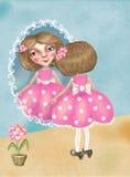 A menina bonita pequena nas sapatas da sua mãe olha no espelho ilustração do vetor