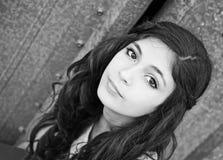 Menina bonita preto e branco Imagens de Stock