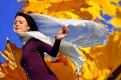 Menina bonita que aprecia o outono Fotografia de Stock
