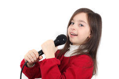 Menina bonita que canta Fotos de Stock Royalty Free