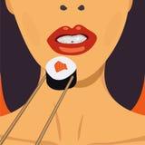 Menina bonita que come o rolo de sushi Gráfico de vetor ilustração royalty free