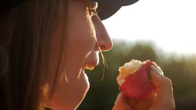 Menina bonita que come uma maçã vermelha no por do sol Adolescente da menina com maçã vermelha, lento-movimento filme