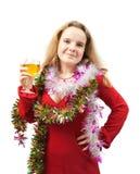 Menina bonita que comemora o ano novo Imagens de Stock