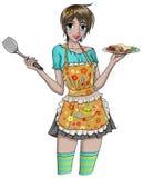 Menina bonita que cozinha - nenhum fundo Fotografia de Stock