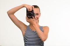 Menina bonita que faz a foto Fotografia de Stock Royalty Free